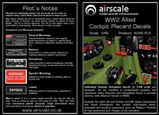 Airscale AS48PLA 1/48 WW2 Allied Cockpit Placards & Dataplates Decal Set
