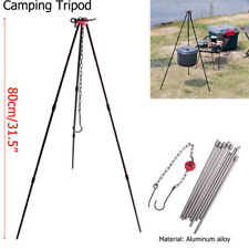 SUNDICK Durable Hanging Cooking Pot Campfire Picnic Tripod Camping Equipment