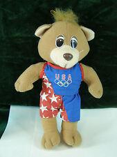 """Vintage Plush Ace Novelty 1995 USA Olympic Team Teddy Bear W/Tag 9 1/2"""" Tall"""