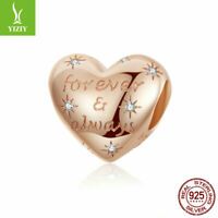 925 Sterling Silver Charm Beads With Rose Gold Women Gifts Fit Bracelet Chain