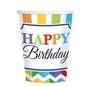 Happy Birthday Paper CUPS 8-10 Oz Rainbow 🌈 BRIGHT Chevron Stripes ~party Decor