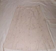 EWM Natural Linen Blend Embroidered Skirt Size 12