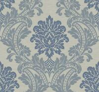 Wallpaper Large Designer Blue & Gray Blue Damask on Gray Faux