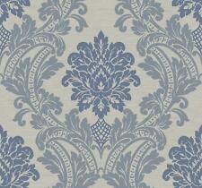 Wallpaper Large Designer Blue & Gray Blue Damask on Gray Faux