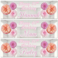 2 personalised happy birthday banner pink flowers adults children party poster