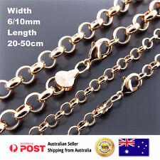 18k Rose Pink G/F Gold Solid Belcher Link Necklace Chain Bracelet Sizes 20-50cm