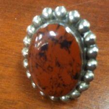 Sale !!! Large Oval Terra Cotta Orange Agate Sterling Silver  Ring Size 7