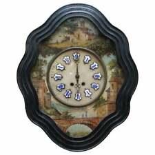 RARE FRENCH NAPOLEON III OEIL DE BOEUF HAND PAINTED WALL MOUNTED PENDULUM CLOCK