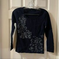 Talbots Women's Petites Navy Scoop Neck Long Sleeve Top Small