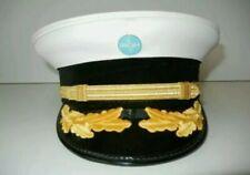 Vtg PAN-AM AIRLINES White/Blue hand embroided logoPILOT HAT Flight Attendant Cap