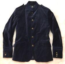 H&M Navy Blue Velvet Button Up Military Style Blazer Jacket Mens Size 36R