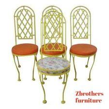 4 vintage yellow meadowcraft regency metal dining chair