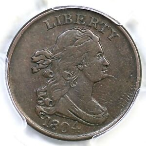 1804 C-5 R-4 PCGS VF 35 Spiked Chin Draped Bust Half Cent Coin 1/2c