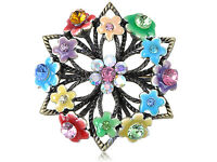Vintage Repro Colorful Crystal Rhinestone Flower Floral Wreath Pin Brooch Gifts