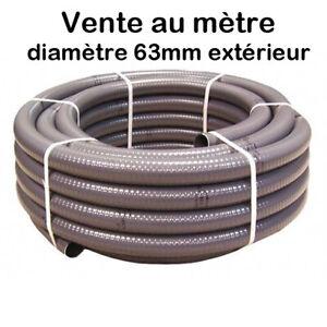 Tuyau PVC Gris Pression Souple à coller Ø 63mm diamètre Bassin Piscine Vente / M