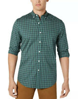 CLUB ROOM Men's Green Plaid Long Sleeve Button Down Stretch Shirt NEW 2XL XXL