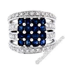 New 18K White Gold 3.15ctw Calibre Square Sapphire Cluster Quad Row Diamond Ring