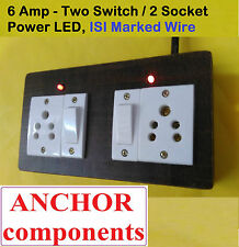 Wooden Extension 2 sockets + 2 Switch  , 2 MTR 1 mm ISI wire,LED indicator