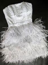 BEBE PEARL BLUE SCALLOP LACE FEATHER DRESS NWT NEW $199 XXSMALL XXS 00