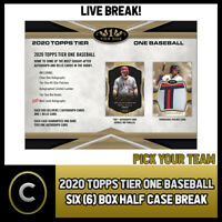 2020 TOPPS TIER ONE BASEBALL 6 BOX (HALF CASE) BREAK #A717 - PICK YOUR TEAM