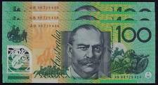 $100 Fraser / Evans 1996 AN 96 First Prefix Test Notes Run of 3 - vUnc (R616TF)