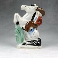 Figurine Boy Cowboy on Bucking Horse Hand Painted with Gold Details