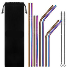 10PCS Reusable Rainbow Stainless Steel Metal Drinking Straw Bar Cleaning Brush