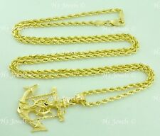 14k Yellow Gold Hollow Rope chain necklace & cross Anchor Pendant 24 in 7.50gram