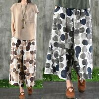 UK Women Elastic Waist Polka Dot Loose Pants Pockets Wide Leg Trousers Plus Size