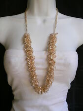 WOMEN GOLD METAL CHAIN DRESS NECKLACE FLOWER LINKS CREAM IMITATION PEARL BEADS