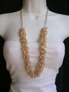 WOMEN GOLD METAL CHAIN DRESS NECKLACE FLOWER LINKS CREAM IMITATION PEARL BEADS