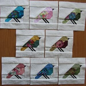 """8 Paper Pieced all Different mostly floral Colorful Bird quilt block 6 1/2"""""""