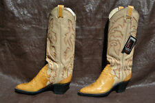 LARRY MAHAN Tan Leather & Crocrodile Cowboy Boots Size 6 Narrow with tag on. NEW
