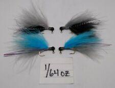 4 pack 1/64 oz hand tied Marabou jigs steelhead trout panfish crappie bass