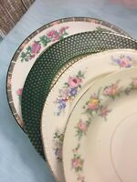 4 Vintage Mismatched China Dinner Plates Green Pink Wedding Shower Tea Party 270
