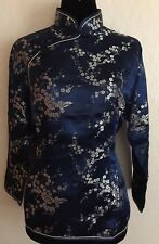 Vintage Blue With Silver Flowers Chinese Blouse Size M Uk 8. Brand New