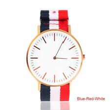 Advanced Elegant Analog Watch Women Men Leather Nylon Stripe Strap Rosegold SSUS