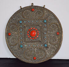 Large Old Filigree Tribal Silver Turquoise & Coral Tibetan Body Decoration