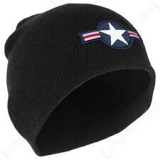 USAF Beanie Hat - 1947 Roundel Logo Beanie - Black (100% Acrylic)