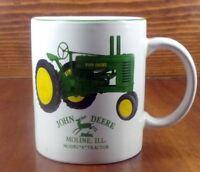 "JOHN DEERE Vintage Coffee Cup Mug MOLINE ILL. Model ""A"" Tractor GREEN YELLOW EUC"