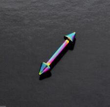 Eyebrow Barbell Anodized Rainbow Spiked Rook Snug Helix Ear Tragus Bar 16g 10mm