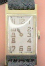 Vintage 14K Gold Rectangular Waltham Riverside 21 Jewel Men's Wrist Watch c.1940