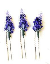 3 x lavande fleur épingles à cheveux mariée demoiselle d'honneur clip artificielle violet set 1442