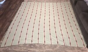 """VTG USA BATES Floral Bedspread QUEEN Mid Century Mod TURQUOISE CORAL 82 X 84"""""""