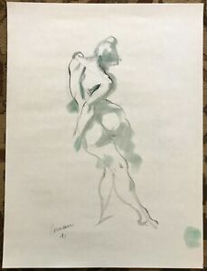 Original Harry Carmean Black Charcoal Female Nude Figure Life Drawing Sketches