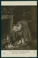 art Leon Huber Kittens rest on jacket chair cat 1910s postcard Salon de Paris