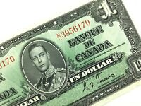 1937 Canada One 1 Dollar Circulated Canadian Gordon Towers Banknote ML Q817