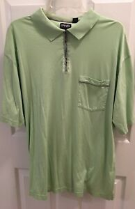 Men's Golf Ping Polo Shirt Large L Green Short Sleeve Zip Front Knit Pima Cotton