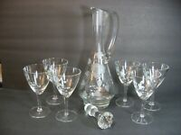 "VTG Toscany Etched Floral Crystal Glass 16"" Decanter Stopper 6 Glasses Set Mint!"