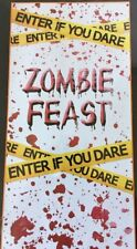 "Halloween Decorative Door Cover Decor Zombie Feast Cut to Fit 30""x60"" NEW"